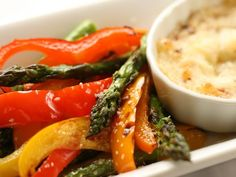 Spicy Garlic Parmesan Dip with Grilled Vegetables