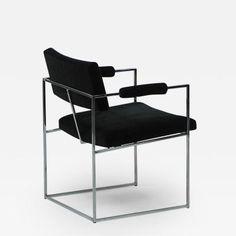 Milo Baughman Six Thin Line Dining Chairs in Black Mohair by Milo Baughman