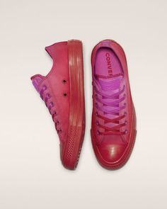 148ac2142 Chuck Taylor All Star Dip Dye Low Top Active Fuchsia Enamel Red New  Converse