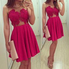 Sexy Round Collar Sleeveless See-Through Spliced Women's Dress, PURPLISH RED, XL in Club Dresses | DressLily.com