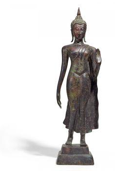 Standing Buddha Statue, Thai Buddha Statue, Buddha Statues, Buddha Sculpture, Sculpture Art, Sculptures, Bronze, Art Buddha, Culture Of Thailand