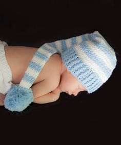 Loving this Light Blue Stripe Personalized Pom-Pom Beanie on #zulily! #zulilyfinds