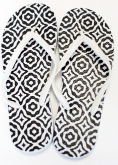 a5a116a9a850 Black and White Patterned Flip Flops Black And White Design