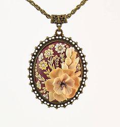 Floral Necklace Pendant Applique Beige Ivory Cream Vinous