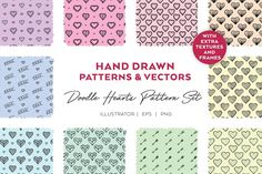 Doodle Hearts | PATTERN Set by Andimaginary Design Co. on @creativemarket