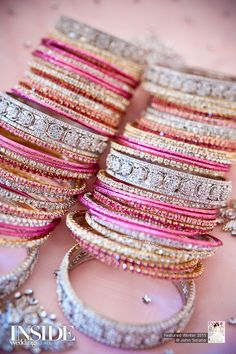 Pink and silver Indian bangles. Look soO alike to bees bangles (London Green street) The Bangles, Bridal Bangles, Bridal Jewelry, Pink Bracelets, Bangle Bracelets, Pink Jewelry, Silver Bangles, Stackable Bracelets, Colorful Bracelets