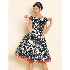 Black and White Print Swing Dress with Red Petticoat