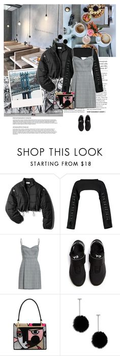 """Cold Breakfast Morning"" by grace-eun-ae-boye ❤ liked on Polyvore featuring Rebecca Minkoff, 3.1 Phillip Lim, Boohoo, Y-3, Prada, Tuleste, StreetStyle and puffercoats"