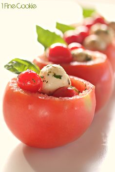 Tomato Mozzarella Appetizer Cups by 1 Fine Cookie, Tomato, mozzarella, cups, bowl, appetizer, healthy, recipes, recipe, balls, cherry, large, basil, balsamic, vinaigrette, oil,  ideas, finger, food, portable, new, year's, resolution, diet, olive, basil, herbs,  scoop, how to, pulp, inside, stuffed, Italian,