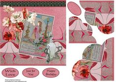 Perfume and Poppies on Craftsuprint designed by Barbara Alderson - corner pyramid topper on a card front with a choice of sentiments - Now available for download!