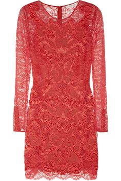 Matthew Williamson|Rainbow satin and crochet-appliquéd lace dress|NET-A-PORTER.COM