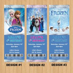 Personalized Disney Frozen Birthday Ticket by SamanthaJoDesigns, $6.00
