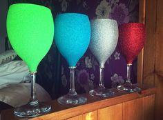 Glitter wine glass with gems. Bright colour glitter wine glass: Purchase online at www.facebook.com/theglitterroom