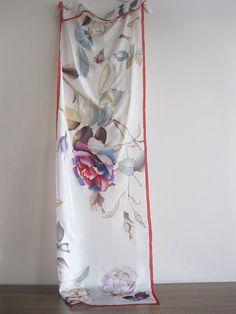 Silk scarf hand painted, silk art, wedding scarves, bridal gift, white scarf floral, bridesmaid gift, silk accessory. Silk scarf hand painted with roses in purple and grey shades, in white background. This scarf was inspired by wonderful winter patterns, its a sister of Winter Rose, that I