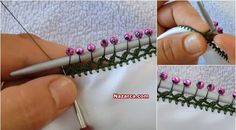 This Pin was discovered by İsm Crochet Flower Patterns, Crochet Borders, Crochet Flowers, Crochet Trim, Bead Crochet, Crochet Lace, Hand Embroidery Stitches, Beaded Embroidery, Hairpin Lace