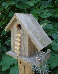 Weathered Cedar Barn Style Birdhouse by SwampwoodCreations on Etsy,