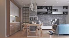 Two Muted-Tone, Exposed-Brick Pads for Young Families