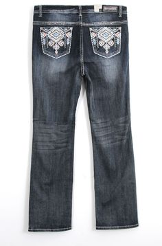 Grace in LA Plus Size Jeans Straight Leg with Blue and Pink Embroidered Pockets