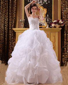 Satin Organza Beading Sweetheart Floor Length Ball Gown Wedding Dress