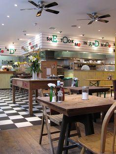 Breakfast Club Hoxton byob brekkie Sunday in london! Hoxton London, London Cafe, Best Places In London, Things To Do In London, Breakfast Cafe, The Breakfast Club, Sunday In London, Bar Design Awards, Rustic Restaurant