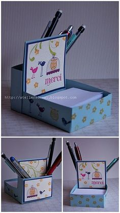 Post-It Note & Pen Holder teacher gifts or for anyone 3d Paper Projects, 3d Paper Crafts, Craft Projects, Craft Gifts, Diy Gifts, Handmade Gifts, Peppa E George, Stampin Up, Post It Note Holders