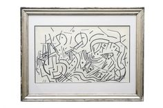 Pen and ink abstract drawing by Jacques Germain (1915-2001).France, circa 1950.