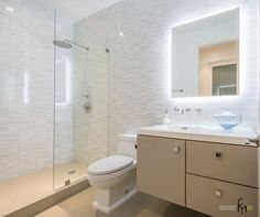 A Sweet Bathroom Color With White Granite Wall Design And Glass Showering Room Along With Beige Floating Washstand And Frameless Mirror With Background Lighting Stunningly Beautiful Renovation in the Bathroom with Simple Decoration Bathroom design
