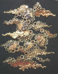 Andreas Kanellopoulos embroidery of sequins and tubular metal-beads + crushed paper on grain de poudre wool