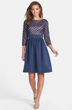 Dot Mesh Bodice Fit & Flare Dress (Regular & Petite) $170 Nordstrom, in black or navy