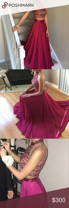 "SHERRI HILL TWO PIECE PROM DRESS Selling this dress again because it unfortunately did not fit my last buyer. I'm giving someone else the opportunity to try it out because this is such a beautiful dress!! I want everyone to be aware that this dress IS A SIZE ZERO (0). I don't want that to be a surprise when you receive it. I also did have it shortened because it was way too long. I am 5'5"" and now it is perfect length, even a little longer. I wore this dress ONCE- still perfect condition…"