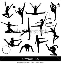 gymnastics silhouettes - stock vector