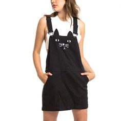 Adorable Kitty Cat Face Sleeveless Overalls Pinafore Dress in Black