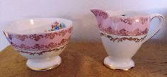 Beautiful Tuscan Fine China small Pink Floral Sugar & Creamer Made in England Fenton Glassware, Vintage Teacups, Gladstone, Cream And Sugar, High Tea, Bone China, Glass Art, Tea Cups, Hand Painted