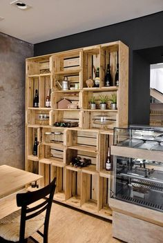 Recycled Pallets Wooden Shelves and Planters: Pallet Wardrobe, Diy Wardrobe, Wardrobe Design, Wooden Crates, Wooden Shelves, Wine Crates, Book Shelves, Recycled Pallets, Wood Pallets