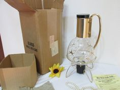Coffee Server Carafe Atomic Design with Candle Warmer In Original Box by LuRuUniques on Etsy
