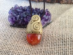 Carnelian stone Crystal polymer clay necklace on Etsy, $25.00