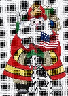 NEEDLEPOINT HANDPAINTED AMANDA LAWFORD CHRISTMAS FIREMAN SANTA DC DESIGNS!! Here it is!! Brand New! Get right to work on this gorgeous 18 mesh design. PRODUCT DETAILS: - 18 Mesh Canvas - Size is 5.5 i