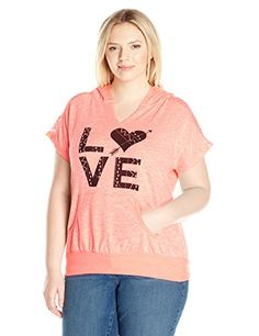 Miss Chievous Juniors PlusSize Short Sleeve Po Hoodie with Lace Love Graphic NeonBubble GumIvoryNeonBubble Gum 3X *** Details can be found by clicking on the image.
