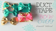 My duct tape bow cuffs! Learn how to make on by watching the SoCraftastic channel on YouTube.