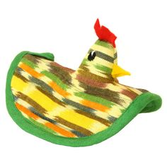 Guatemalan Chicken  Oven Mitt - Yellow only $18.00! Women are provided with access to education, employment opportunities, daycare services, health care and programs for personal and professional development at this co-op. The 66 women, mostly widows who were abandoned by their husbands due to alcoholism, are sole providers of economic support for their families. The group was formed in 1988 with a Healthy Baby program while the women created products to sell and generate funds.