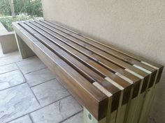 Ana White Build a Modern Slat Top Outdoor Wood Bench Free and Easy DIY Project and Furniture Plans Diy Outdoor Furniture, Furniture Projects, Furniture Plans, Garden Furniture, Home Projects, Diy Furniture, Outdoor Decor, Outdoor Benches, Antique Furniture