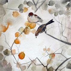 autumn birds. watercolor.