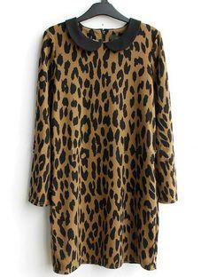Leopard Lapel Long Sleeve Slim Straight Dress - Sheinside.com