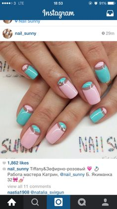 Negative space baby pink and blue nails