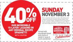 Pinned November 2nd: Spaghetti & 15 layer lasagna are 40% off #Sunday at Spaghetti Warehouse restaurants #coupon via The Coupons App