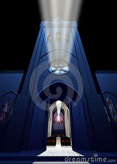 Doors opened in a cathedral. The cross is as a lighthouse projector which guides those who want to approach the light
