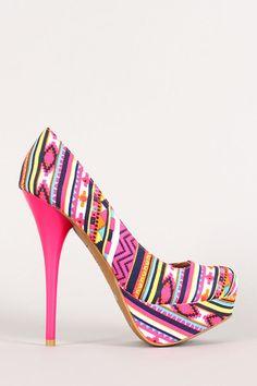 d18f5570cabf Neon Aztec Canvas Platform Pump Strappy Heels