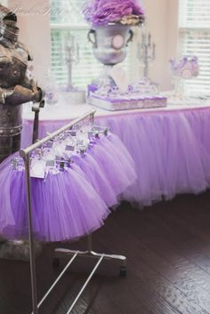 "THIS WOULD BE ADORABLE FOR ADDI'S BIRTHDAY WHEN SHE'S A BIT OLDER...I LIKE THE TUTU'S LIKE HOW I HAD THE PIRATE DRESS UP FOR ASHTON'S PARTY LAST YEAR  Purple Princess Party - LOVE the ""knight in shining armor"" with the silver table ware!!  (and the tutus, of course!)"