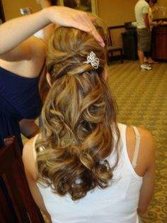 Beautiful Pinned Back Twisted Across Half Updo with Curled Long Hair