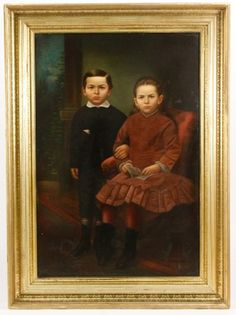 American School Portrait of Brother & Sister, Oil : Lot 222. Hammer Price: $700